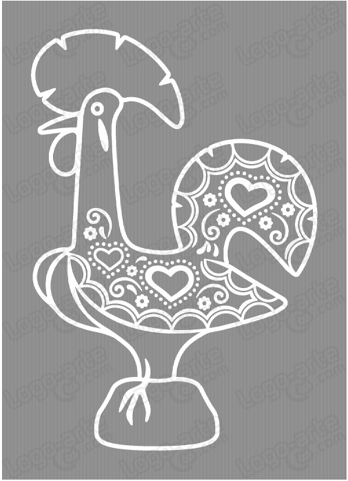 Vector image of rooster of Barcelos for cutting plotter, engraving and printing.