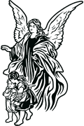 Vector graphic of Guardian Angel for cutting plotter. Religious vector art
