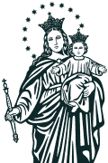 Vector Image of Mary Help of Christians (Sancta Maria Auxilium Christianorum) for plotter. Religious vector images.