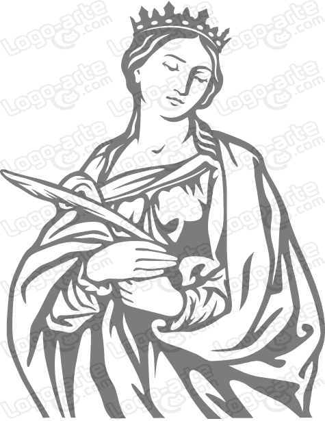 Image of St. Catherine of Alexandria vectorized for cutting plotter and sandblasting.
