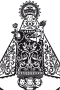 Our Lady of Covadonga vector for plotter and engraving. Religious Christian vector art.