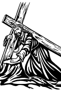 Vector image of The fall of Jesus for cutting plotter.