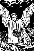 Vector image of Christ comforted by an angel