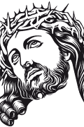 Vector image of Jesus Christ with crown of thorns for plotter.