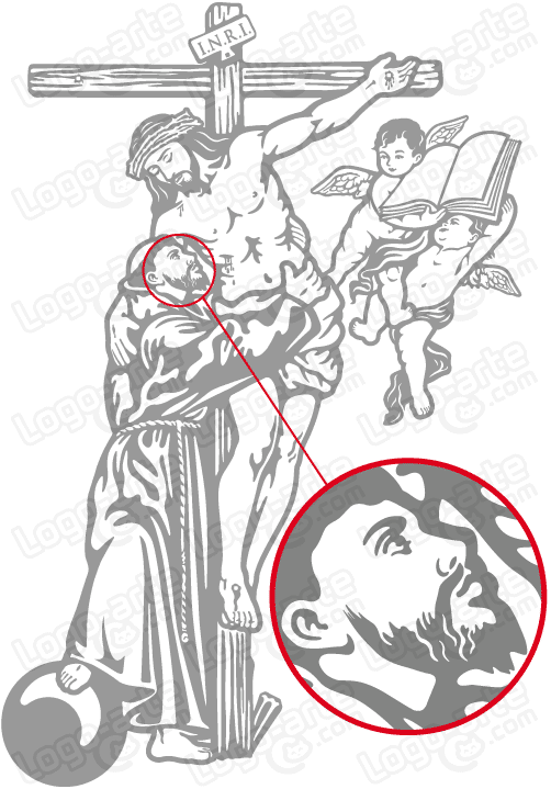 Vector image of St. Francis of Assisi and Jesus for cutting plotter.