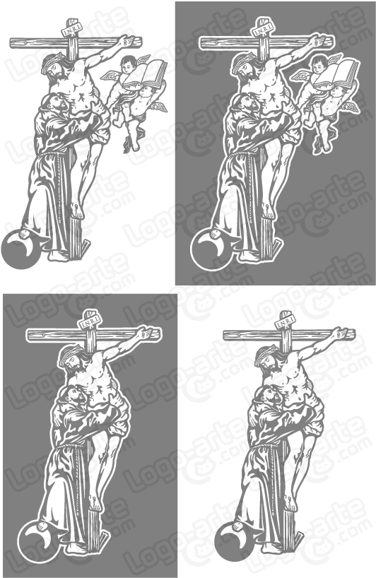 Vector images of St. Francis of Assisi and Jesus, available for download.