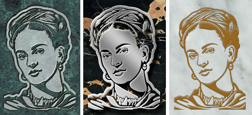 Portrait of Frida Kahlo on 3 different materials.