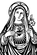 Vector image of Immaculate Heart of Mary for plotter.