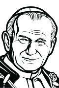 Vector image of Pope John Paul II for plotter.