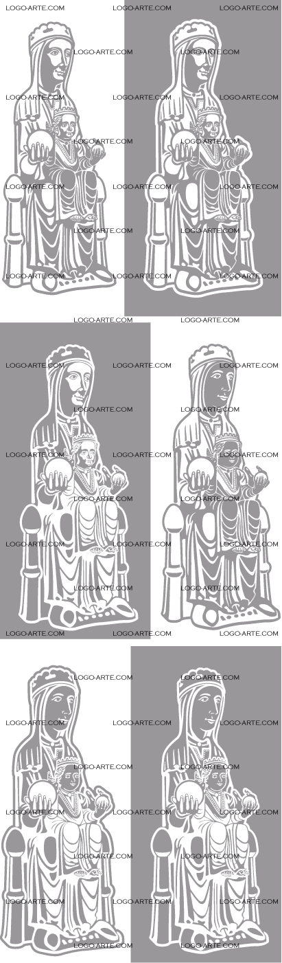 Vector images of Virgin of Montserrat, available for download.