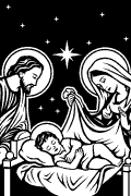 Nativity of Jesus vectorized for cutting plotter and printing.