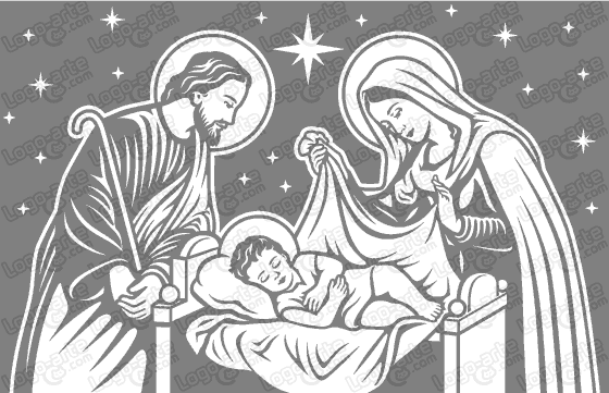 Nativity of jesus vectorized for cutting plotter and printing