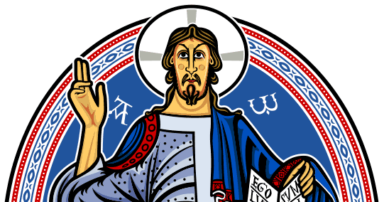 Image of Christ Pantocrator vectorized in colors only for printing.