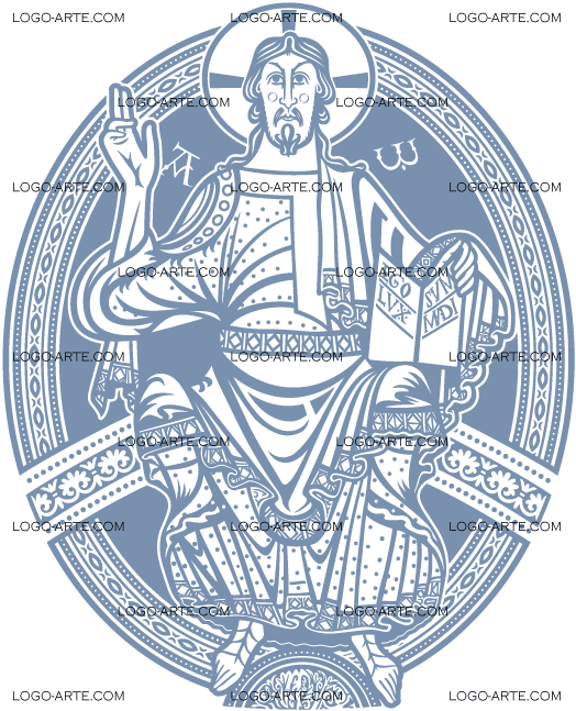 Image of Christ Pantocrator vectorized for cutting plotter, engraving and printing.