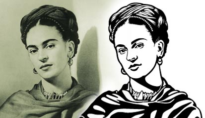 Portrait of Frida Kahlo: original photography and vector art.