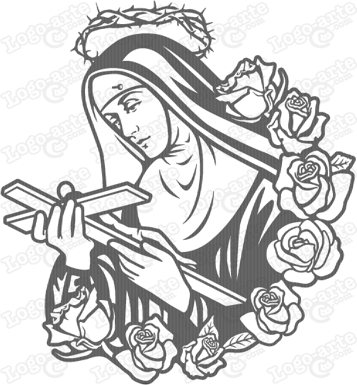 Vector image of Saint Rita of Cascia for cutting plotter.