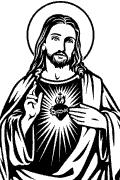 Vector image of Sacred Heart of Jesus. Sacred Heart of Jesus in vector format for cutting plotter. Spiritual Vector Religious Clip Art.