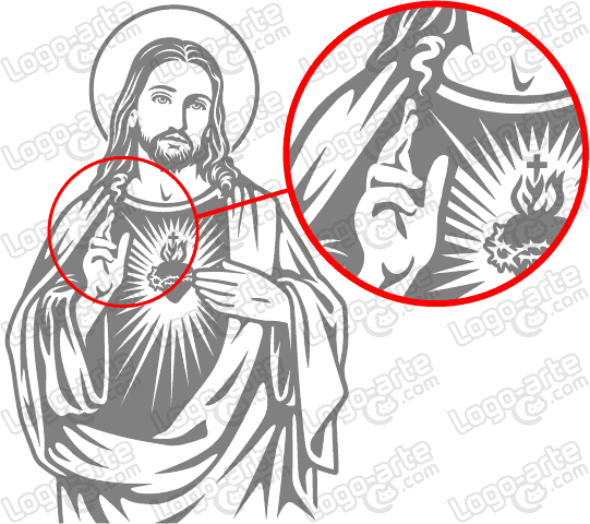 Vector image of Sacred Heart of Jesus for cutting plotter showing enlarged detail.