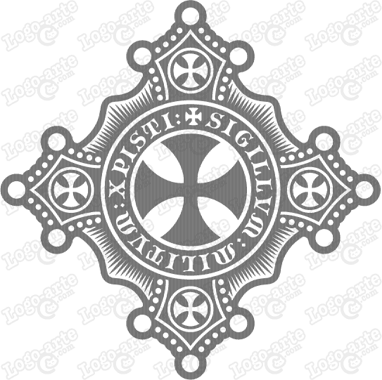 Vector image of the Cross of the Templars for cutting plotter and engraving.