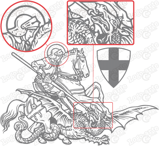 Vector image of St. George killing the dragon showing enlarged details.
