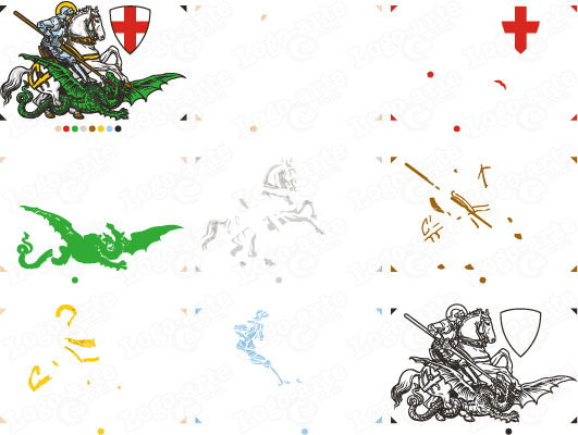 St. George killing the dragon, vectorized in separate colors for cutting plotter.