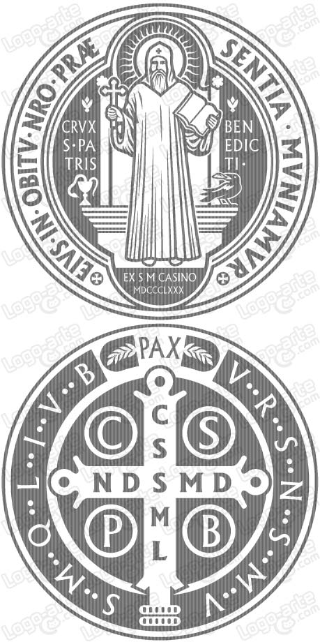 Vector image of St. Benedict's Medal for cutting plotter and engraving.