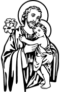 Vector image of St. Joseph with Jesus for cutting plotter. St. Joseph in vector format. Religious vector images. Christian vector art.