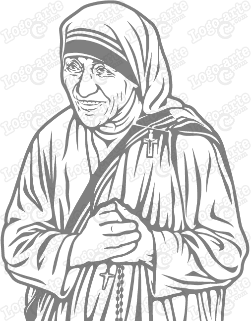 Vector image of Mother Teresa of Calcutta, for cutting plotter and engraving.