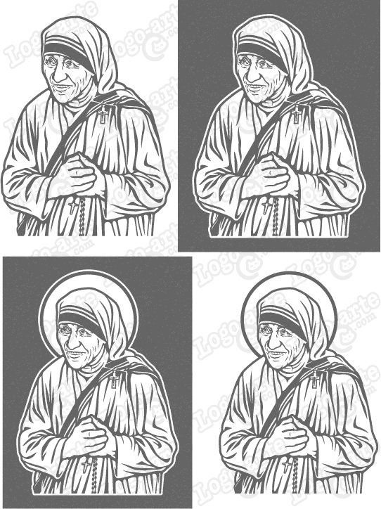 Vector images of Mother Teresa of Calcutta available for download.