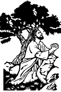 Vector Scriptural Way of the Cross station 1 for cutting plotter and engraving: Jesus in the Garden of Gethsemane. (Mc 14, 32-36)