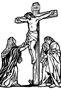 Vector Scriptural Way of the Cross station 12: Jesus entrusts Mary and John to each other. (Jn 19, 26-27).