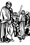 Fourth Station of the Cross: Jesus is denied by Peter. (Mc. 14, 66-72).