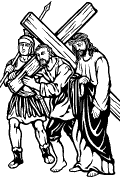 Traditional Station 5: Simon helps Jesus carry the cross.