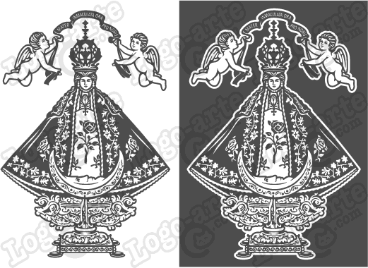Virgen de San Juan de los Lagos vector para corte en plotter