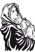 Vector image of Blessed Virgin Mary for plotter.
