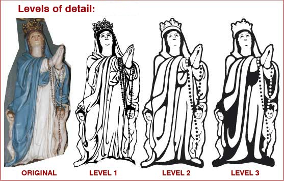 Levels of detail to vectorize religious images.