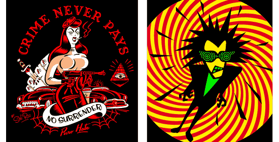Samples of images vectorized for posters and t-shirts.